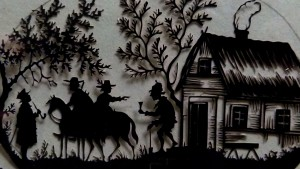 Scène de genre découpée en silhouette  Scherenschnitte allemand de la fin du XIXème siècle