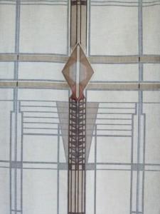 Panneau de lin imprimé et plissé à la main
